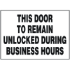 Security & Door Labels- Door Unlocked