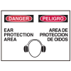 Danger/Peligro Sign - Ear Protection Area