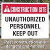 Construction Site Safety Signs - Unauthorized Personnel Keep Out