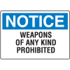 Gun Prohibition Signs - Prohibited Weapons