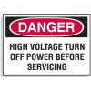 Lockout Hazard Warning Labels- Danger High Voltage Turn Off Power