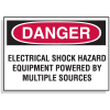 Lockout Hazard Warning Labels- Electrical Shock Hazard Equipment Powered By Multiple Sources