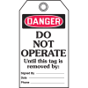 Self-Laminating Tags - Danger Do Not Operate Until This Tag Is Removed
