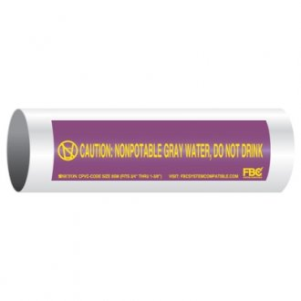 CPVC-Code™ Nonpotable Water Pipe Markers - Gray Water