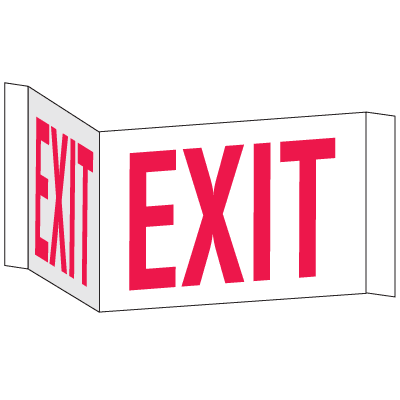 3-Way View Fire Safety Signs - Exit