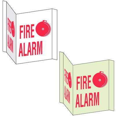 3-Way View Fire Safety Signs - Fire Alarm