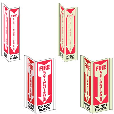 3-Way View Fire Safety Signs - Fire Extinguisher Do Not Block (Down Arrow)