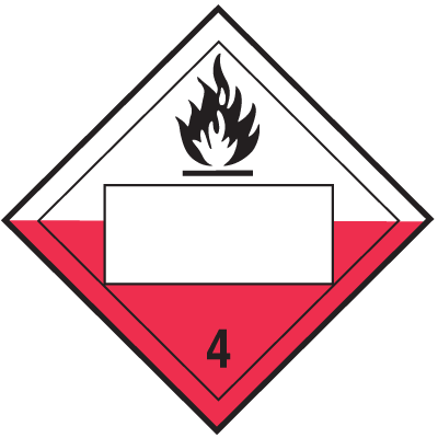 Spontaneously Combustible 4 Digit Blank Placards