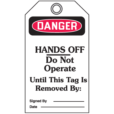 Accident Prevention Safety Tags - Danger Hands Off
