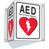 3-Way View AED Sign - Automated External Defibrillator