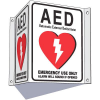 3-Way View AED Sign - Alarm Will Sound If Opened