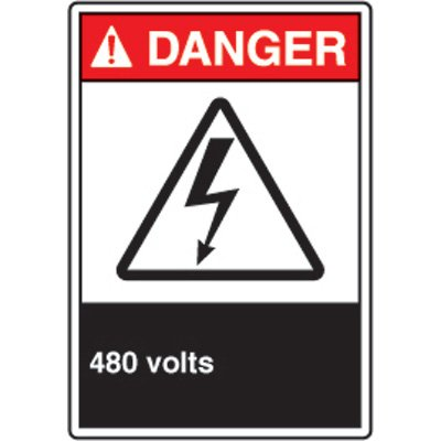 ANSI Electrical Hazard Signs - Danger 480 Volts