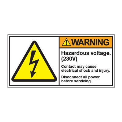 ANSI Z535 Safety Labels - Hazardous Voltage 230V
