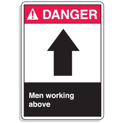 ANSI Z535 Safety Signs - Danger Men Working Above