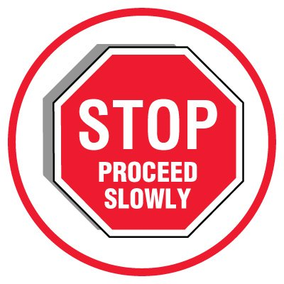 Anti-Slip Floor Markers - Stop Proceed Slowly