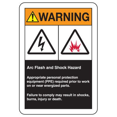 Warning Arc Flash And Shock Hazard - Industrial Arc Flash Sign