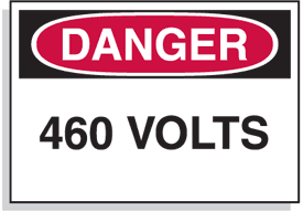 Baler Safety Labels - Danger 460 Volts