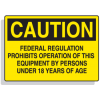 Baler Safety Labels - Caution No One Under 18
