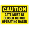Baler Safety Signs - Caution Gate Must Be Closed Before Operating Baler
