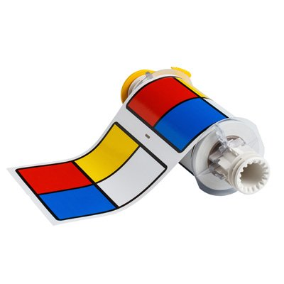 BBP®85 Series Label: Vinyl, Blue/Red/Yellow on White, 6 in H x 6 in W