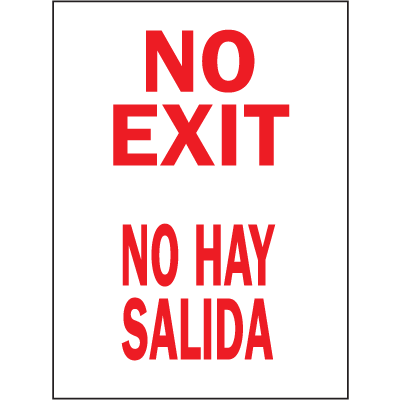 Bilingual Safety Signs - No Exit