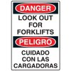 Bilingual Forklift Safety Signs - Danger Look Out For Forklifts
