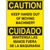 Bilingual Hazard Warning Labels - Caution Keep Hands Out