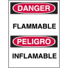 Bilingual Hazard Warning Labels - Danger Flammable