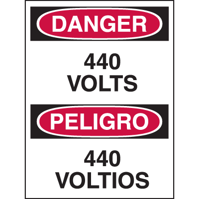 Bilingual Hazard Warning Labels - Danger 440 Volts