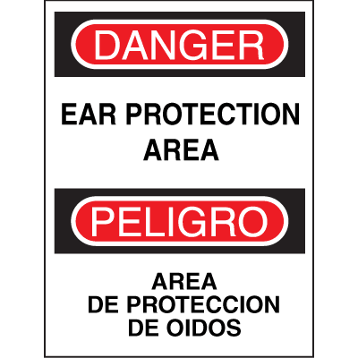 Bilingual Safety Signs - Danger/Peligro - Ear Protection Area