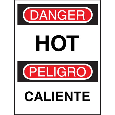 Bilingual Safety Signs - Danger/Peligro - Hot