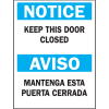 Bilingual Safety Signs - Notice Keep This Door Closed