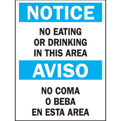 Bilingual Safety Signs - Notice/Aviso - No Eating Or Drinking