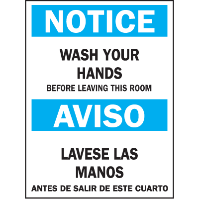 Bilingual Safety Signs - Notice/Aviso - Wash Hands Before Leaving Room