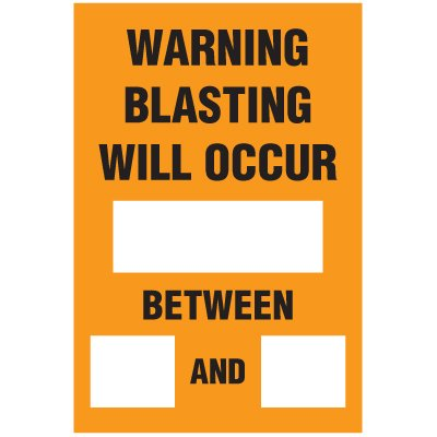 Blasting Barricade Sign Stands - Warning Blasting Will Occur_Between_And_