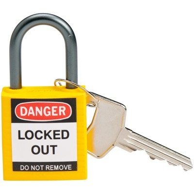 "Brady Yellow Compact Safety Padlock - Keyed Different - 1"" Shackle (143158)"