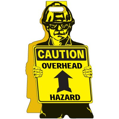Caution Overhead Hazard - Floor Stand