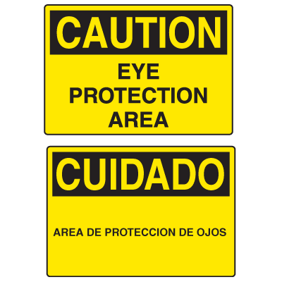 OSHA Caution Signs - Eye Protection Area - English or Spanish