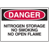 Chemical & HazMat Signs - Nitrogen Storage No Smoking No Open Flame