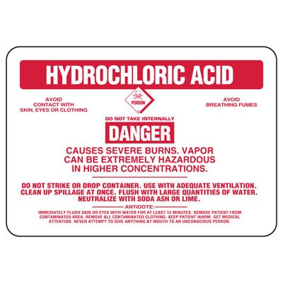 Hydrochloric Acid Danger Causes Severe Burns - Chemical Sign