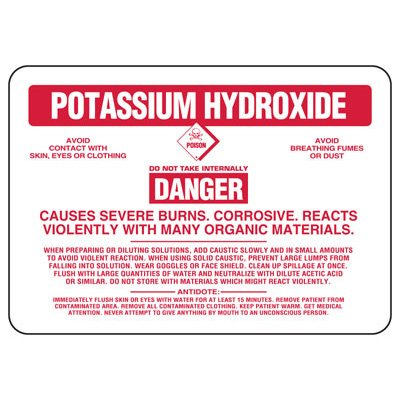 Potassium Hydroxide Danger Causes Severe Burns - Chemical Sign