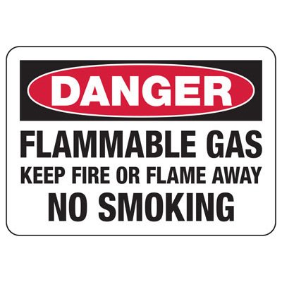 Chemical & HazMat Signs - Flammable Gas Keep Fire or Flame Away No Smoking