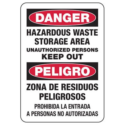Bilingual Safety Signs - Danger/Peligro - Hazardous Waste Storage Area