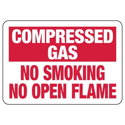 Compressed Gas No Smoking No Open Flame - Chemical Safety Sign