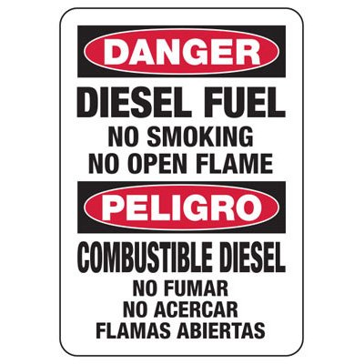 Bilingual Danger Diesel Fuel - Industrial Chemical Warning Sign