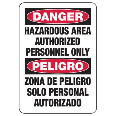Bilingual Danger Hazardous Area - Industrial Chemical Warning Sign