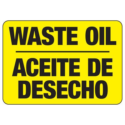 Bilingual Waste Oil - Industrial Chemical Warning Sign