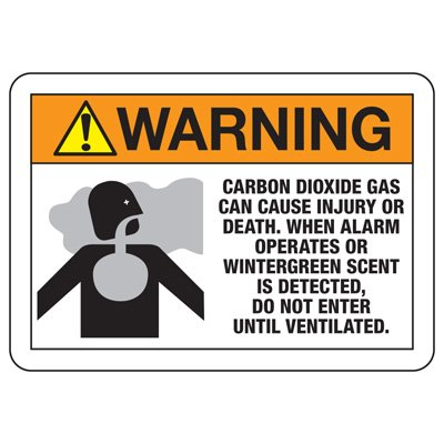 CO2 Extinguishing Systems Signs - Do not enter until ventilated