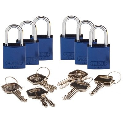 Brady Compact Keyed Different 1 inch Shackle Aluminum Padlocks - Blue - Part Number - 133262 - 6/Pack