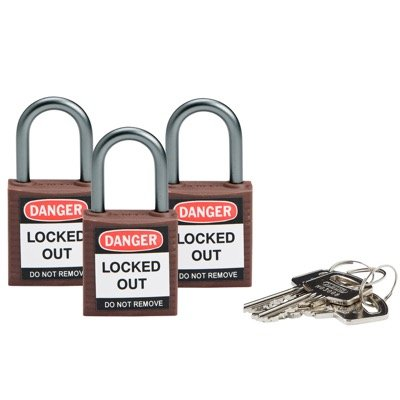 Brady Compact Keyed Alike 1 inch Shackle Safety Padlocks - Brown - Part Number - 118963 - 3/Pack